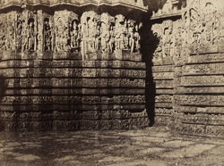 Sculptured buttress on the south-south-west side of the Hoysalesvara Temple, Halebid.